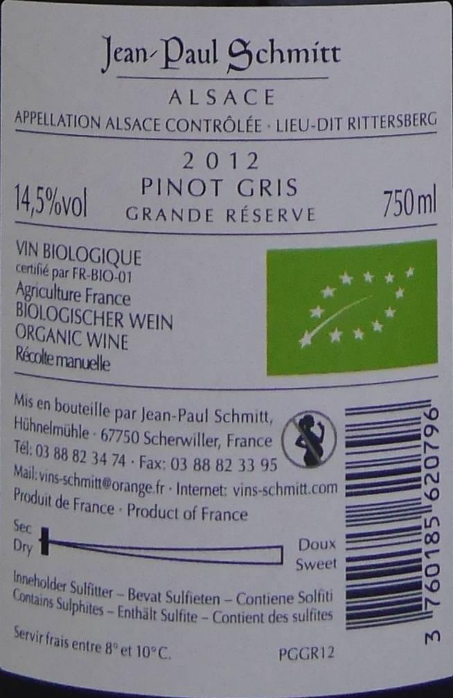 Domaine Jean-Paul Schmitt - Pinot Gris Rittersberg Grande Réserve - 2012-4