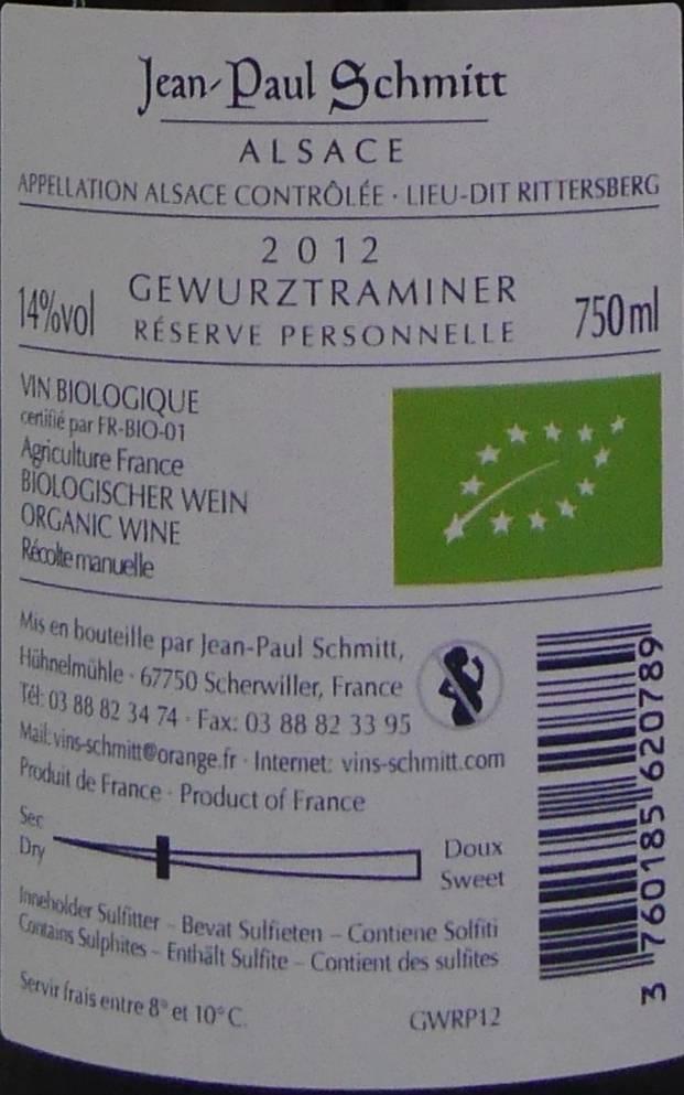 Domaine Jean-Paul Schmitt - Gewurztraminer Rittersberg Réserve Personnelle-4