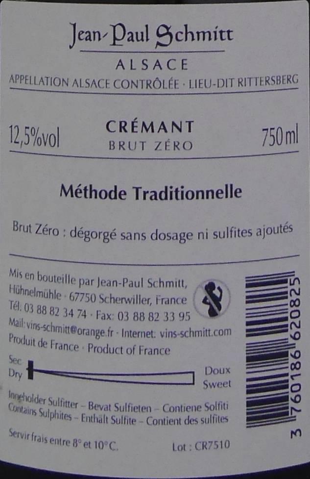 Domaine Jean-Paul Schmitt - Crémant - Brut Zéro-4