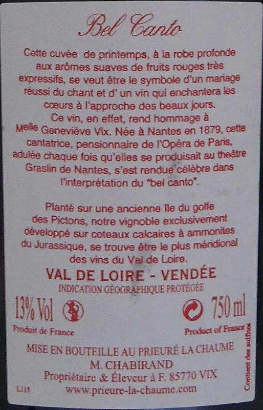 Prieure La Chaume - Bel Canto