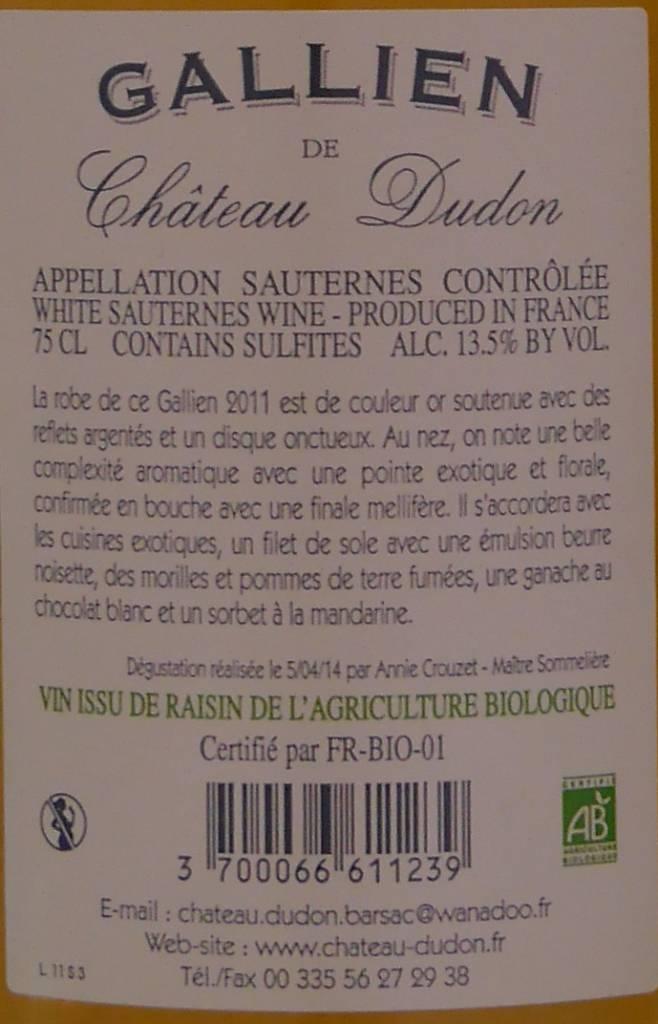 Château Dudon - Sauternes - Gallien de Château Dudon-4