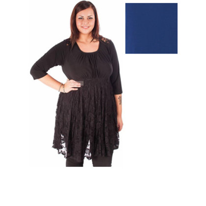 Magna Fashion SALE Tuniek DESTINY LACE 3Q DONKER KOBALT BLAUW