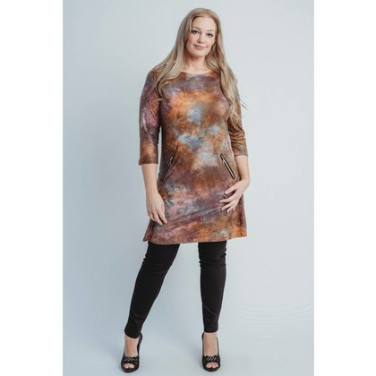 Magna Fashion Jurk C6038 LEATHERLOOK PRINT