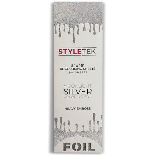 """Styletek 5""""x16"""" Moonlight Silver Emboss Folie Sheet - 200 stuks"""
