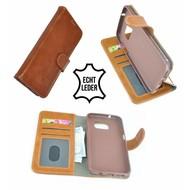 Luxe Wallet Bookcase Echt Leer Hoesje Samsung Galaxy S7 - Lichtbruin