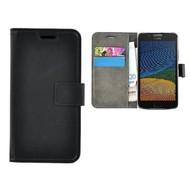 Zwart Effen Wallet Bookcase Hoesje Motorola Moto G5
