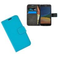 Turquoise Effen Wallet Bookcase Hoesje Motorola Moto G5