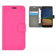 Roze Effen Wallet Bookcase Hoesje Motorola Moto G5