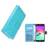 Wallet Bookcase Turquoise Portemonnee Hoesje voor LG K10 2018