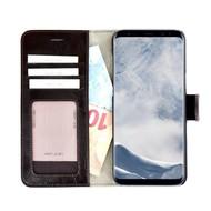 Pearlycase® Echt Lederen Wallet Bookcase Samsung Galaxy S8 Plus met de handgemaakte Donkerbruin Leren Telefoonhoesje