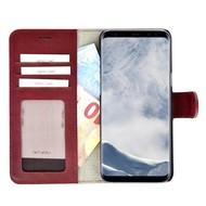 Pearlycase® Echt Lederen Wallet Bookcase Samsung Galaxy S8 Plus met de handgemaakte Bordeauxrood Leren Telefoonhoesje