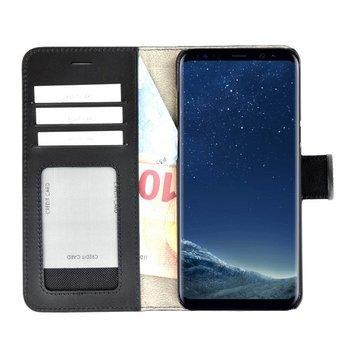 49c913233d1 Pearlycase® Echt Lederen Wallet Bookcase Samsung Galaxy S8 met de  handgemaakte Zwart Leren Telefoonhoesje