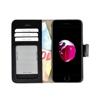Pearlycase® Echt Lederen Wallet Bookcase Apple iPhone 7 met de handgemaakte Zwart Leren Telefoonhoesje