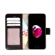 Pearlycase® Echt Lederen Wallet Bookcase Apple iPhone 7 Plus met de handgemaakte Donkerbruin Leren Telefoonhoesje