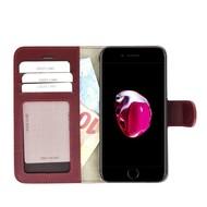 Pearlycase® Echt Lederen Wallet Bookcase Apple iPhone 7 Plus met de handgemaakte Bordeauxrood Leren Telefoonhoesje