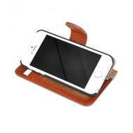 Pearlycase® Echt Lederen Wallet Bookcase Apple iPhone 5/5S/SE met de handgemaakte Bruin Leren Telefoonhoesje