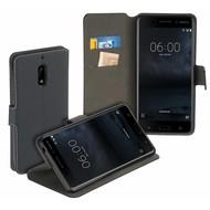 Zwart Luxe Y Wallet Bookcase Hoesje voor Nokia 6