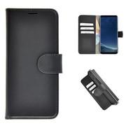 Echt Lederen Wallet Bookcase Pearlycase® Handmade Effen Zwart Hoesje voor Samsung Galaxy S8 Plus