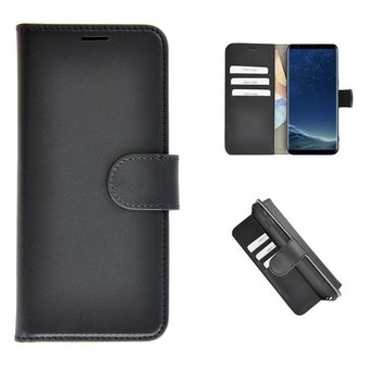 82241fe86a6 Echt Lederen Wallet Bookcase Pearlycase® Handmade Effen Zwart Hoesje voor Samsung  Galaxy S8 Plus
