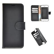 Echt Lederen Wallet Bookcase Pearlycase® Handmade Effen Zwart Hoesje voor Apple iPhone 7