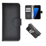Pearlycase® Echt Leer Wallet Bookcase Samsung Galaxy S7 - Zwart Effen