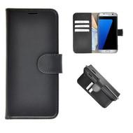 Echt Lederen Wallet Bookcase Pearlycase® Handmade Effen Zwart Hoesje voor Samsung Galaxy S7 Edge