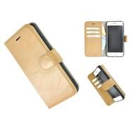 Echt Lederen Wallet Bookcase Pearlycase® Handmade Effen Camel Hoesje voor Apple iPhone 7