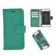 Echt Lederen Wallet Bookcase Pearlycase® Handmade Effen Groen Hoesje voor Apple iPhone 7