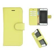 Geel Echt Leder Pearlycase® Handmade Effen Wallet Bookcase voor Apple iPhone 7