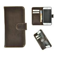 Donkerbruin Echt Leder Pearlycase® Handmade Effen Wallet Bookcase voor Apple iPhone 7