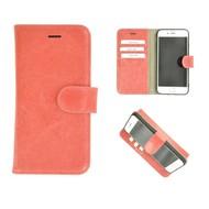 Zalmroze Echt Leder Pearlycase® Handmade Effen Wallet Bookcase voor Apple iPhone 7