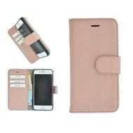 Pearlycase® Echt Leder Wallet Bookcase iPhone 6/6S Lichtroze Effen Hoesje