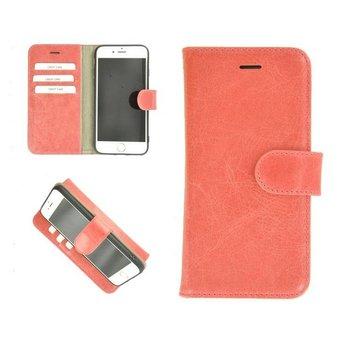 Pearlycase® Echt Leder Wallet Bookcase iPhone 6/6S Zalmroze Effen Hoesje