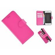 Pearlycase® Echt Leder Wallet Bookcase iPhone 7 Plus Hoesje Effen Roze