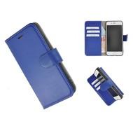 Pearlycase® Echt Leder Wallet Bookcase iPhone 7 Plus Hoesje Effen Donkerblauw