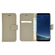Pearlycase® Wallet Bookcase Samsung Galaxy S8 Plus Hoesje Echt Leer Effen Kakigrijs