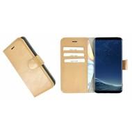 Pearlycase® Wallet Bookcase Samsung Galaxy S8 Plus Hoesje Echt Leer Effen Camelbruin