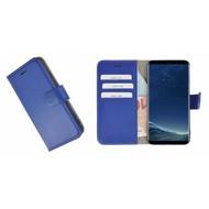 Pearlycase® Wallet Bookcase Samsung Galaxy S8 Plus Hoesje Echt Leer Effen Donkerblauw