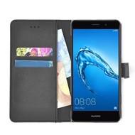 Zwart effen wallet bookcase Huawei Enjoy 7 Plus hoesje