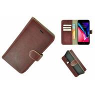Pearlycase® Echt Leder Wallet Bookcase iPhone 7 Plus Bordeauxrood Hoesje
