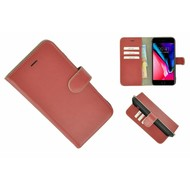 Pearlycase® Echt Leder Wallet Bookcase iPhone 7 Plus Oxyderood Hoesje