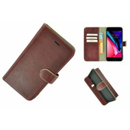 Pearlycase® Wallet Bookcase iPhone 8 Plus Echt Leder Bordeauxrood Hoesje