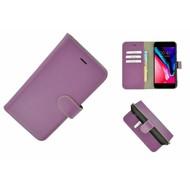 Pearlycase® Wallet Bookcase iPhone 8 Plus Echt Leder Paars Hoesje