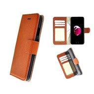 Pearlycase® Echt Leer Handmade iPhone 8 Plus Wallet Bookcase Lichtbruin