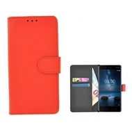 Rood effen Wallet Bookcase Nokia 8 Hoesje