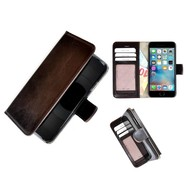 Luxe iPhone 6/6S Wallet Bookcase Echt Leer Hoesje - Donkerbruin