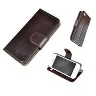 Donkerbruin Echt Leder Wallet Bookcase Hoesje iPhone 5 / 5S / SE