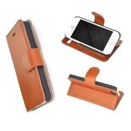 Lichtbruin Echt Leder Wallet Bookcase Portemonnee Hoesje iPhone 5 / 5S / SE