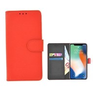 Rood effen Wallet Bookcase iPhone X
