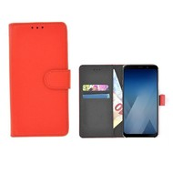Wallet Bookcase voor Samsung Galaxy A8 2018 - Rood effen